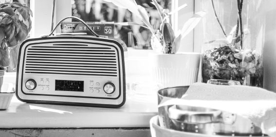 Radio in a kitchen